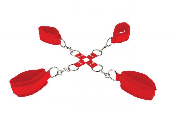 Handschellen Hand und Fuß rot