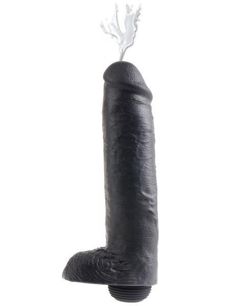 Realistischer Dildo Spritzer schwarz 28 x 7 cm